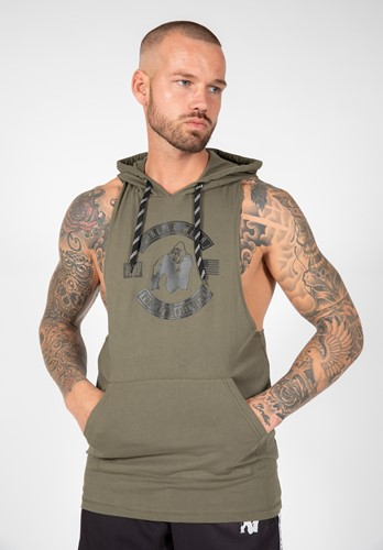 Lawrence Hooded Tank Top - Army Green - 4XL