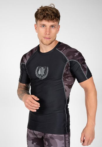 Cypress Rashguard Short Sleeves - Black/Gray Camo - M