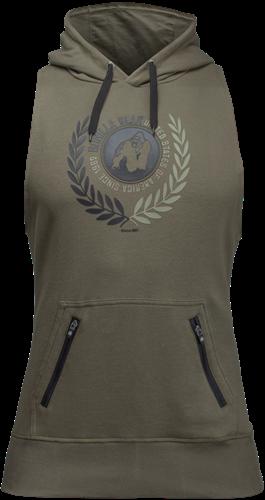 Manti Sleeveless Hoodie - Army Green - 4XL