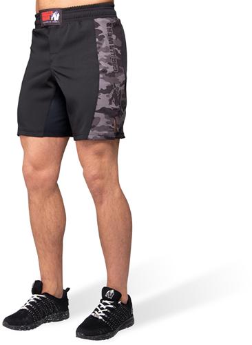 Kensington MMA Fight Shorts - Black/Gray Camo - L