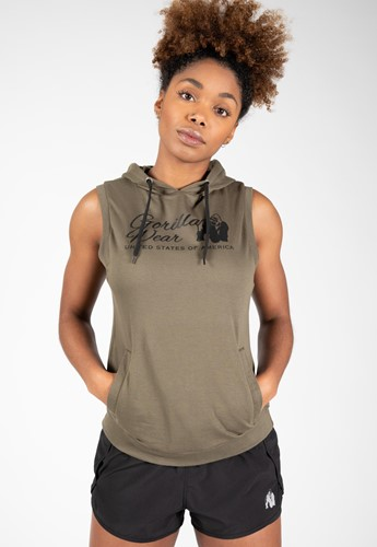 Selma Sleeveless Hoodie - Army Green-XS