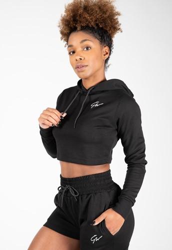 Pixley Crop Top Hoodie - Black - XS