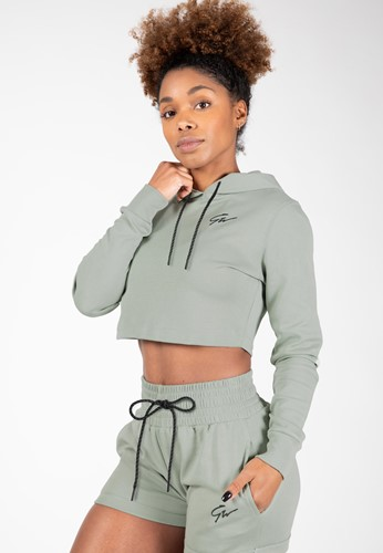 Pixley Crop Top Hoodie - Light Green - S