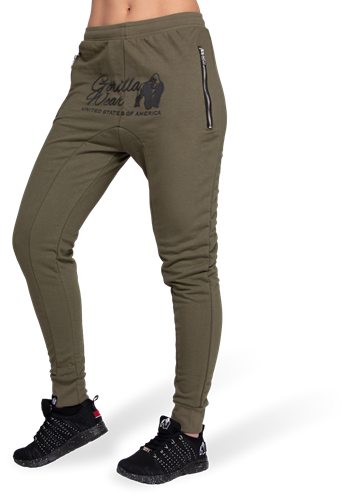 Celina Drop Crotch Joggers - Army Green - XS