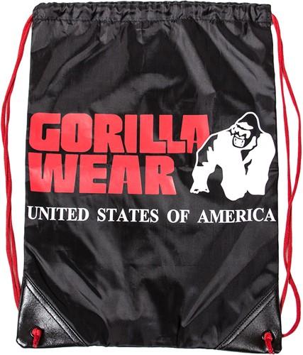 GORILLA WEAR DRAWSTRING BAG - BLACK/RED