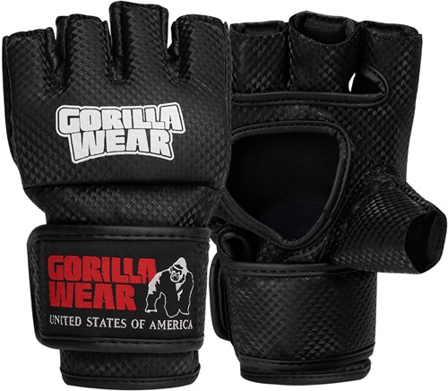 Manton MMA Gloves (With Thumb) - Black/White - S/M