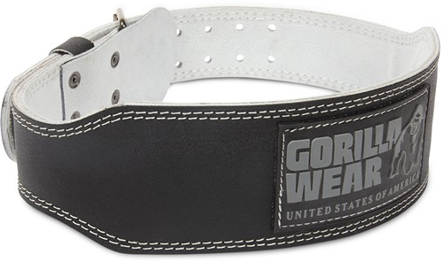 Gorilla Wear 4 Inch Padded Leather Lifting Belt - Black/Gray - L/XL